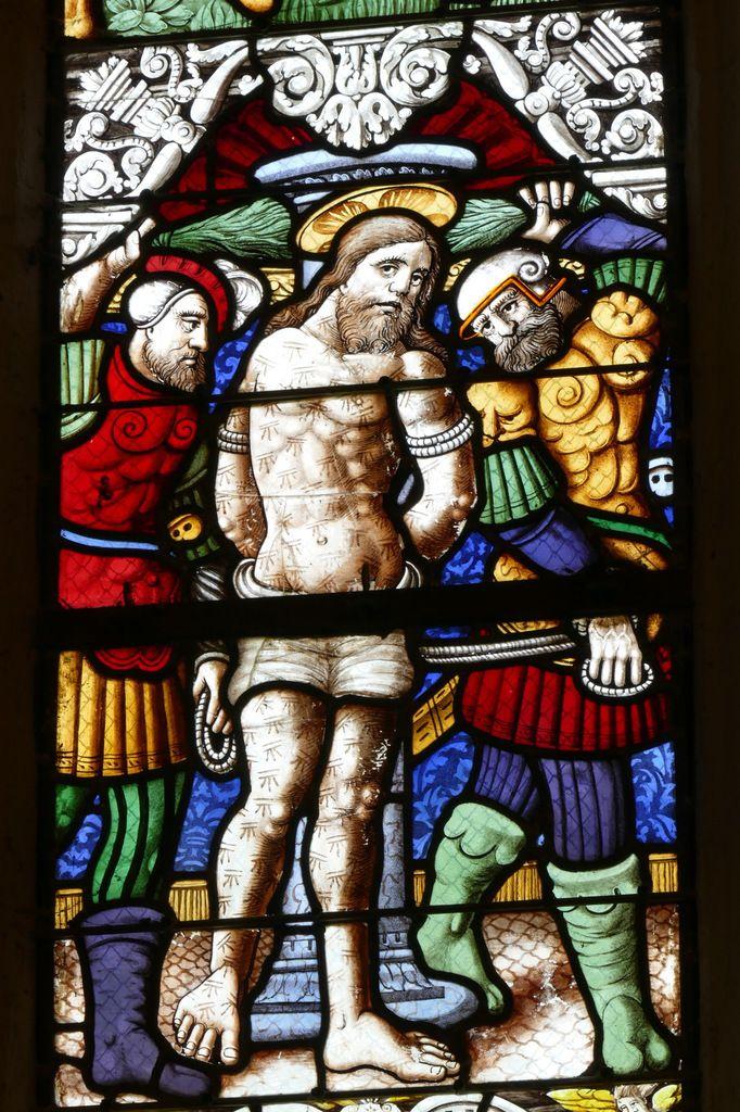 Flagellation, Verrière de la Passion  (vers 1560), chapelle Notre-Dame-du-Crann de Spézet. Photographie lavieb-aile.
