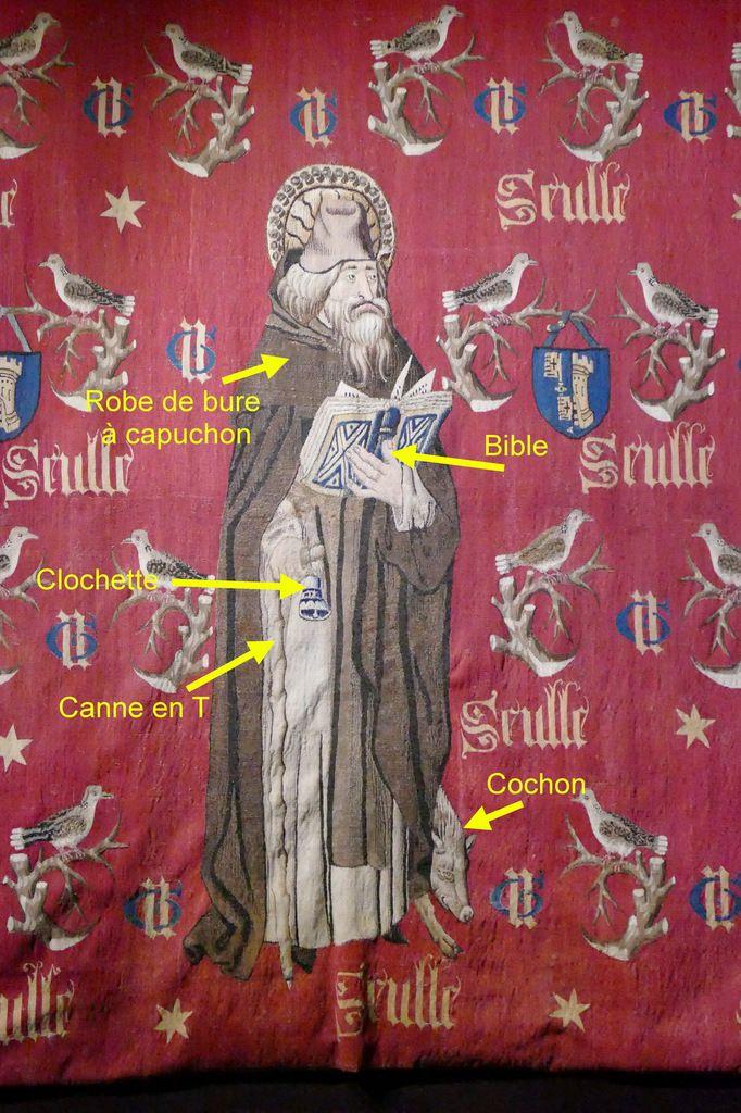 Les attributs de saint Antoine, Tapisserie de saint Antoine, Hospices de Beaune, photographie lavieb-aile.