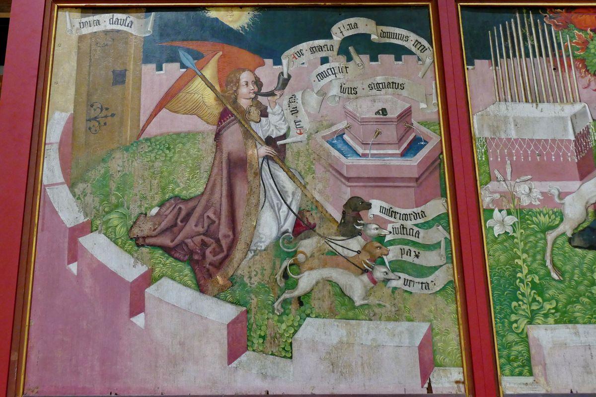 L'ange Gabriel, Annonciation, Retable des Dominicains vers 1480, Martin Schongauer, Musée Unterlinden de Colmar. Photographie lavieb-aile.