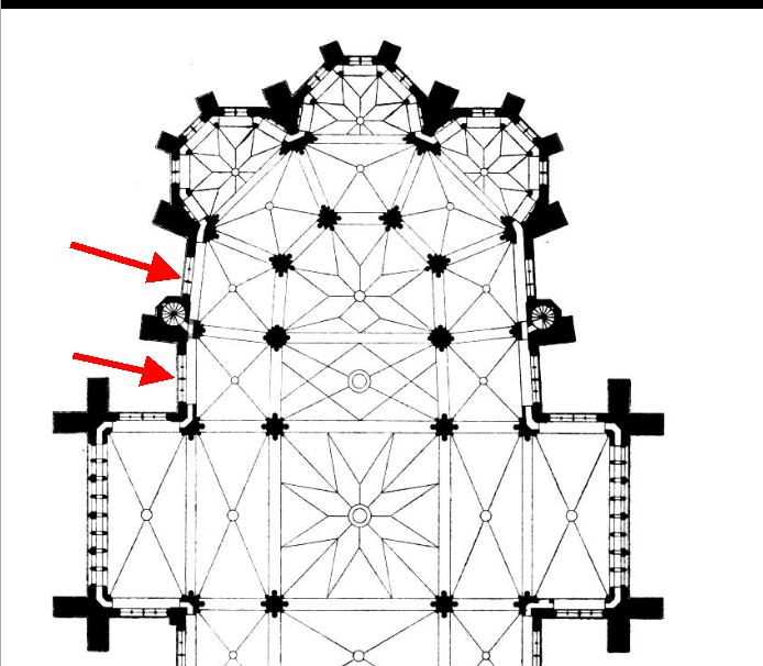 Les baies n° 9 et 11 de la cathédrale de Metz, sur un plan de Dehio 1902.