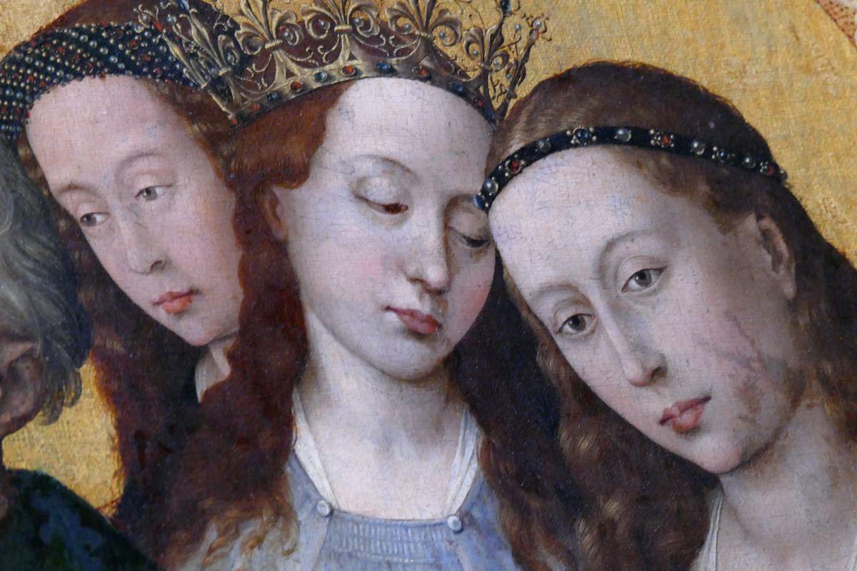 Saintes Barbe, Catherine et Marguerite, Rogier van der Weyden,  Polyptyque du Jugement Dernier (1445-1450),  Hospices de Beaune, panneau 6,  photographie lavieb-aile.