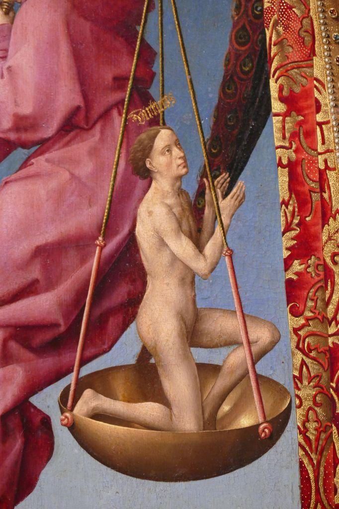 Virtutes, la Vertu s'élève dans le plateau de l'ange psychostase. Rogier van der Weyden,  Polyptyque du Jugement Dernier (1445-1450), panneau 4,  Hospices de Beaune, photographie lavieb-aile.