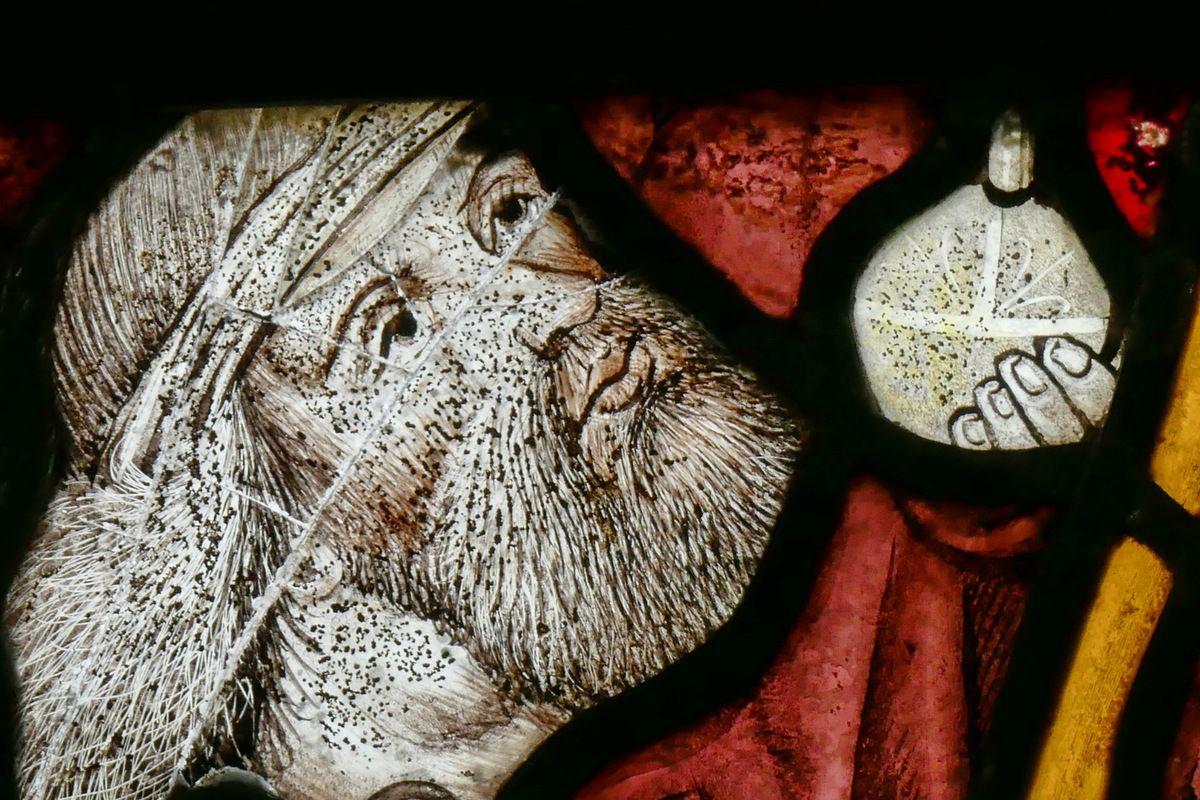 Saint Christophe, Baie 1, bras nord du transept, église Notre-Dame, Brennilis, photographie lavieb-aile.