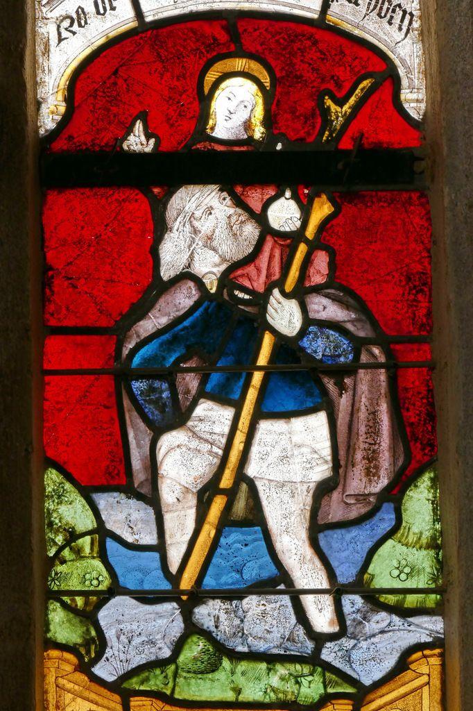 Lancette  de saint Christophe, Baie 1, bras nord du transept, église Notre-Dame, Brennilis, photographie lavieb-aile.