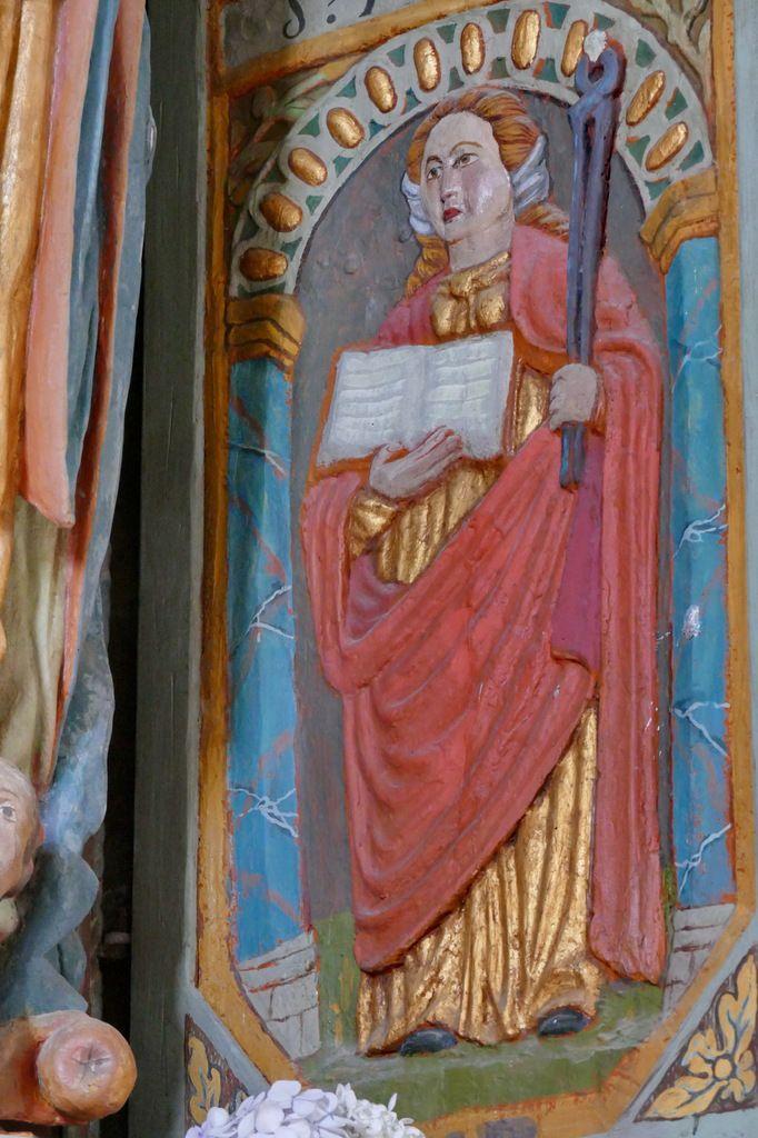 Panneau inférieur du volet gauche, Sainte Apolline, Panneau inférieur du volet gauche, niche de Notre-Dame de Breac-Ellis, église de Brennilis. Photographie lavieb-aile.