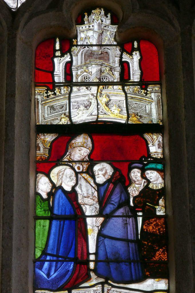 Mariage de la Vierge,  baie axiale, église de Brennilis. Photographie lavieb-aile.