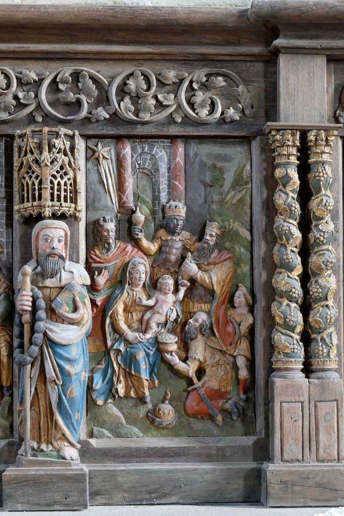 Adoration des Mages, retable du maître-autel, église Notre-Dame de Brennilis, photographie lavieb-aile.