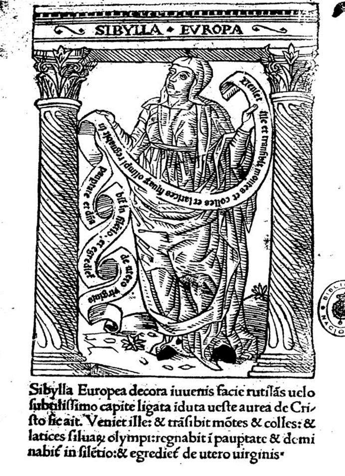La sibylle Erythrée selon Baldini (1470-1480),   les Heures de Louis de Laval (avec la page de typologie en regard), et Léonard Limosin vers 1535.
