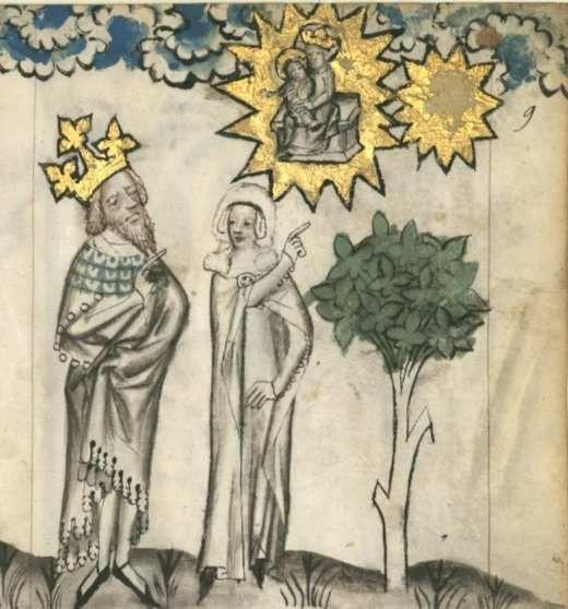 Sibylle de Tibur dans le Speculum humanae salvationis Latin 511  folio 9r (Gallica) &  Speculum humanae salvationis Latin 512folio 10r  (Gallica)