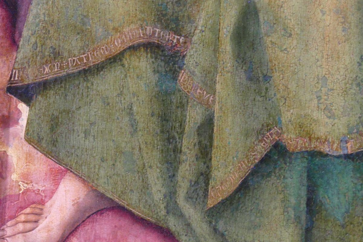 Inscriptions sur la bordure du manteau de saint Paul. Rogier van der Weyden, Polyptyque du Jugement Dernier (1445-1450), panneau 6, Hospices de Beaune, photographie lavieb-aile.