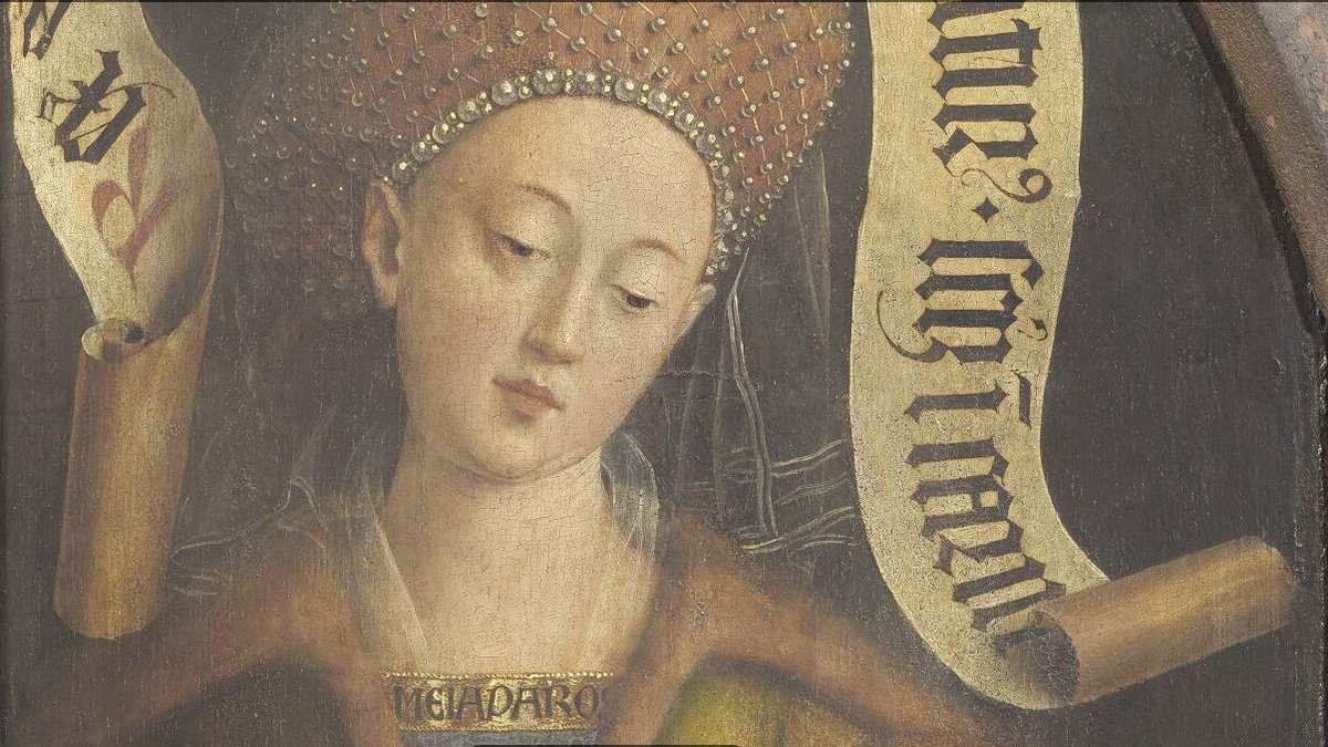 La Sibylle d'Érythrée, volet droit du Polyptyque de l'Agneau Mystique d'Hubert et Jan Van Eyck, cathédrale de Gand, image closertovaneyck.