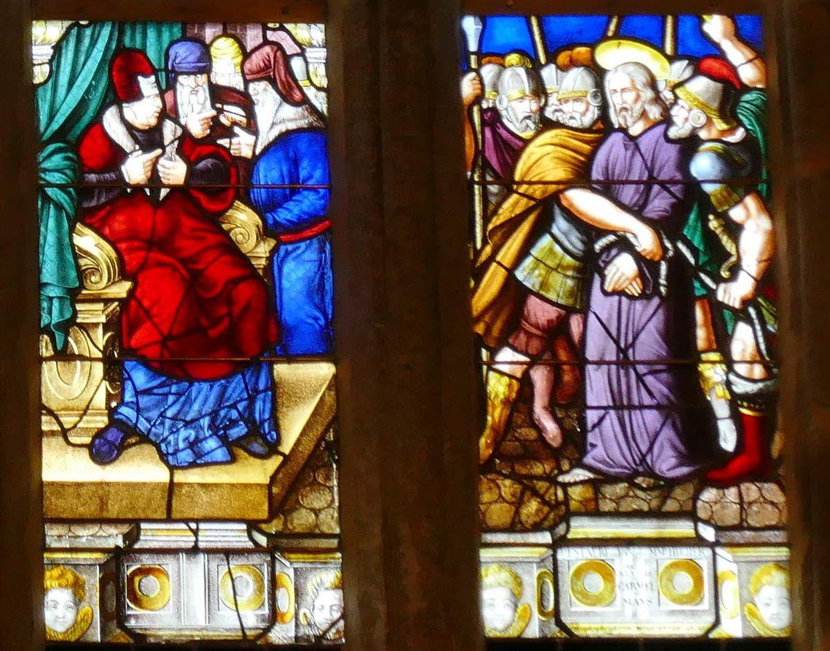 Lancettes E et F du registre inférieur, maîtresse-vitre (1556) du chœur de la chapelle Saint-Herbot en Plonévez-du-Faou. Photographie lavieb-aile mars 2017.