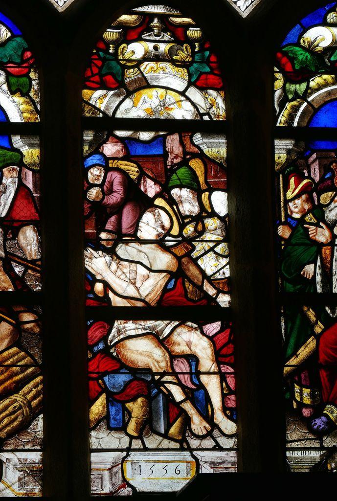 Lancette B, baie n°1, verrière du Martyre de saint Laurent (1556), chapelle Sainte-Barbe, chapelle Saint-Herbot en Plonévez-du-Faou. Photographie lavieb-aile mars 2017.