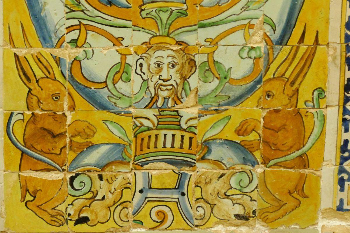 Panneau à la fontaine aux cerfs parCristobal de Augusta en 1577-1578, Salon de Charles Quint  de l'Alcazar royal de Séville . Photographie lavieb-aile 2015.