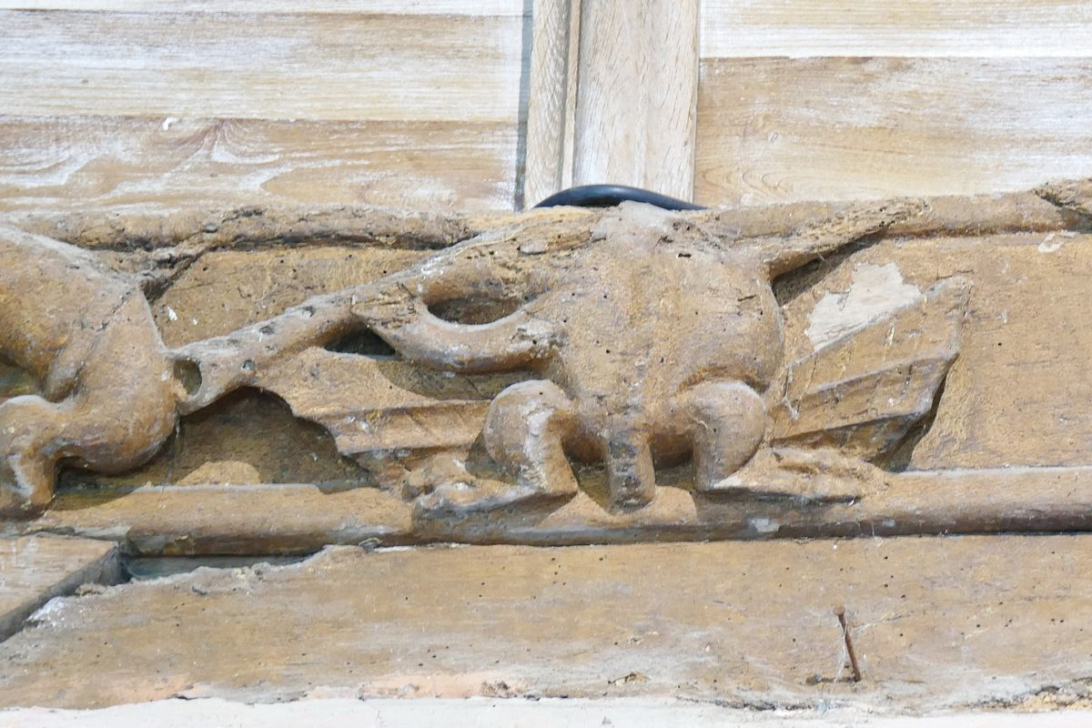 Cornemuse-chauve-souris, sablière n°5, 1529, ancienne abbatiale Notre-Dame, Daoulas. Photographie lavieb-aile juin 2017.