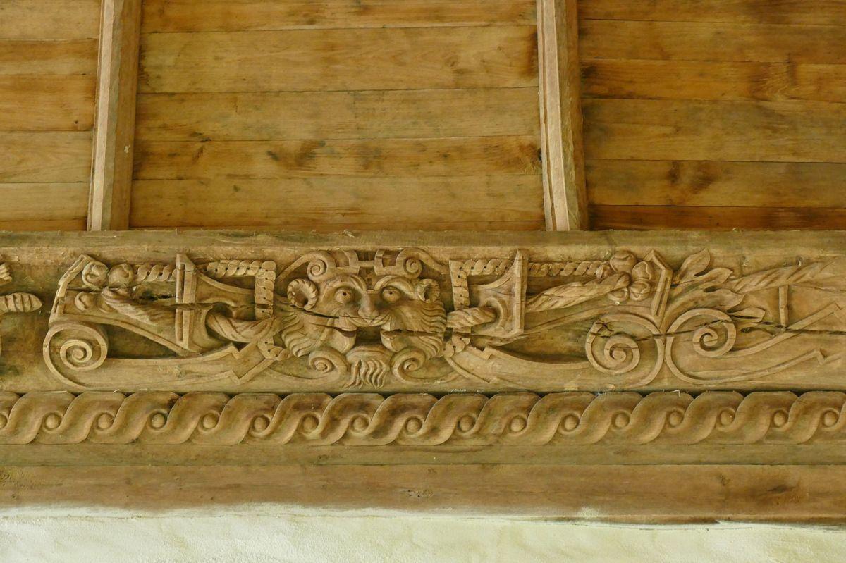 première sablière  par le Maître de Pleyben v. 1575, quatrième travée du bas-coté nord, chapelle Sainte-Marie-du-Ménez-Hom.  Photographie lavieb-aile juillet 2017.