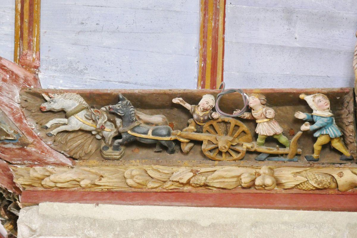 La mort accidentelledupaysan écrasé par son propre attelage , sablière par le Maître de Pleyben (vers 1571) du coté sud du haut de la nef de l' église Saint-Germain de Pleyben. Photographie lavieb-aile juillet 2017.