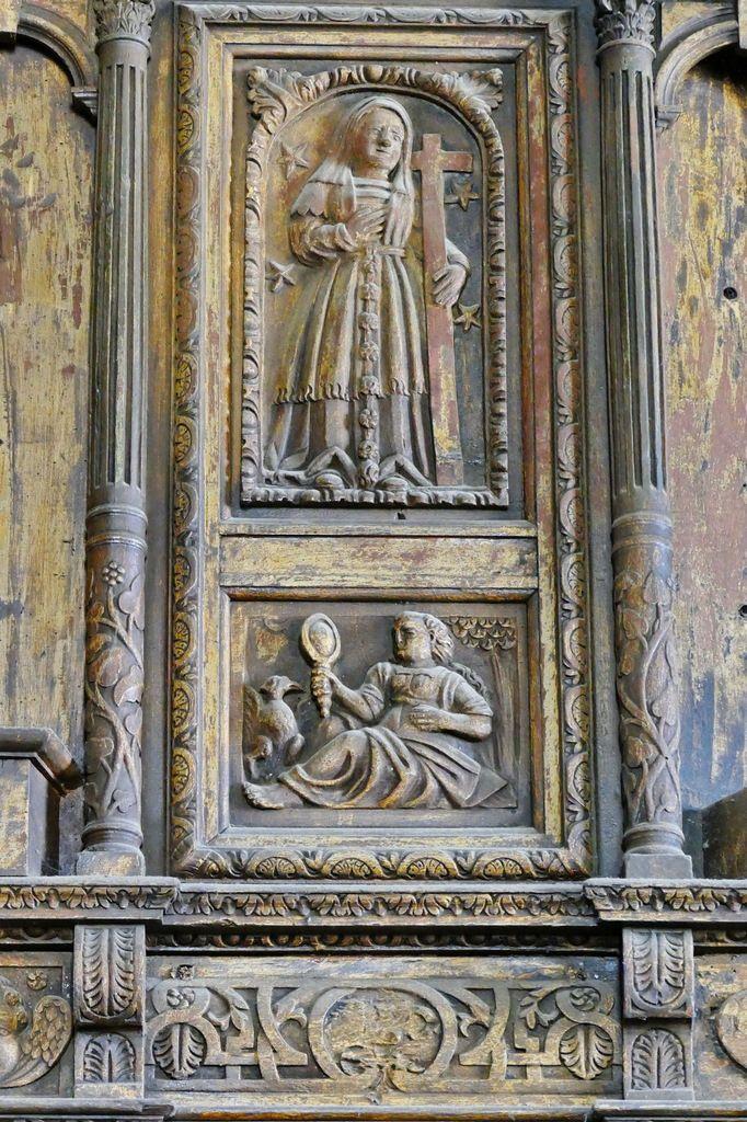 La Sibylle de l'Hellespont, pan coupé nord de la tribune de l'orgue (1606), église Notre-Dame de Croas-Batz. Photographie lavieb-aile juillet 2017.