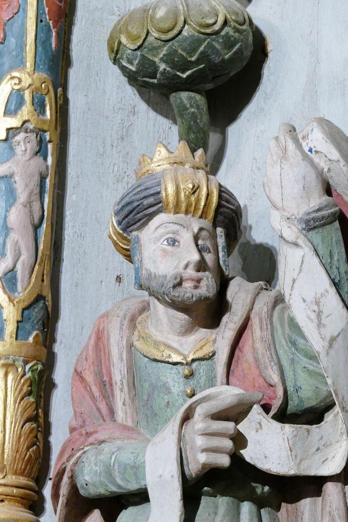 Retable de Notre-Dame-de-Berven, bois polychrome, fin XVIe siècle, transept nord de la chapelle Notre-Dame-de-Berven à Plouzévédé. Photographie lavieb-aile juillet 2017.