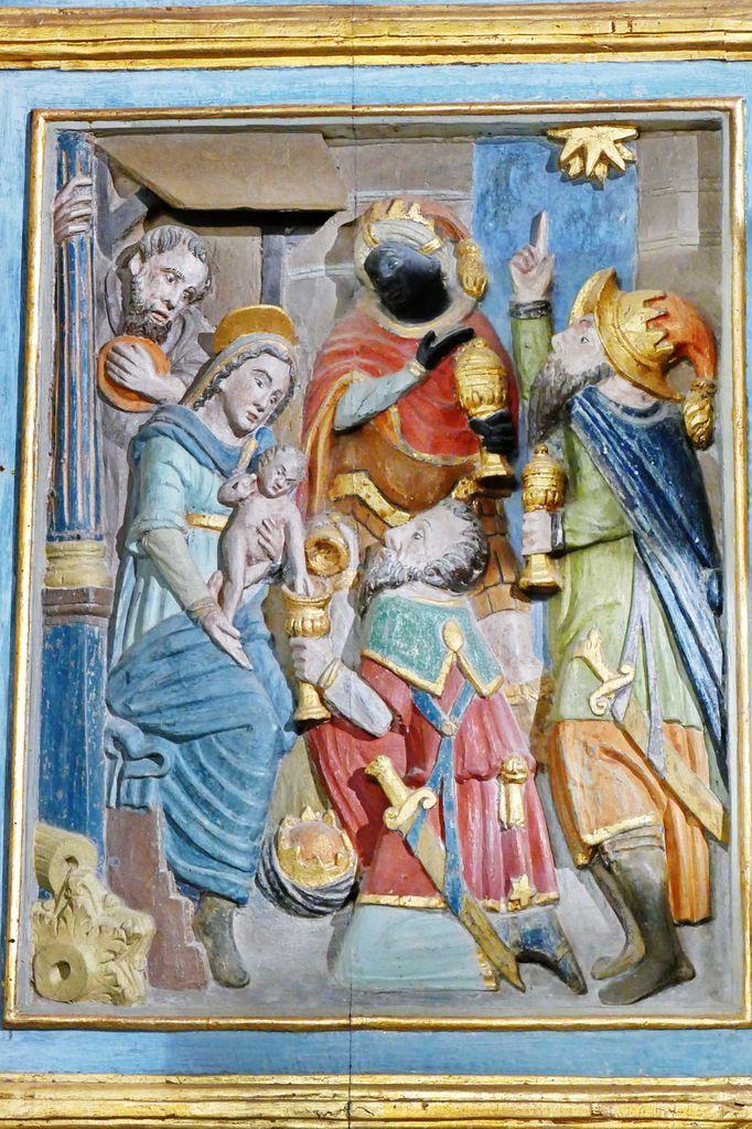 L'Adoration des Mages, volet de droite  du retable de l'Arbre de Jessé, bois polychrome, vers 1576-1580,   chapelle Notre-Dame-de-Berven. Photographie lavieb-aile juillet 2017.
