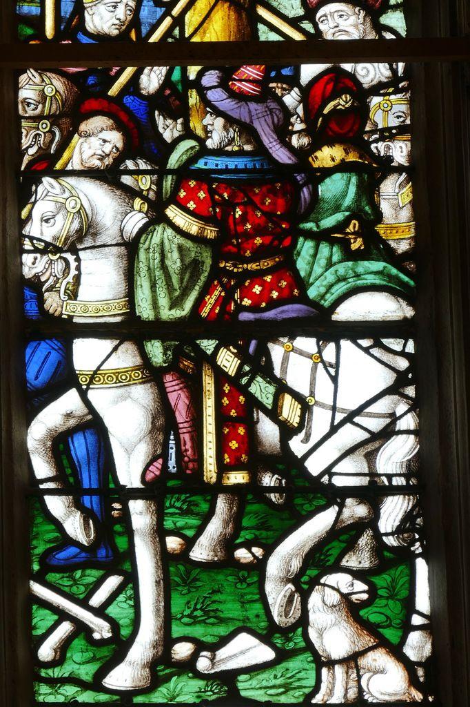 Pilate ?, lancette droite de la Crucifixion (1539), maîtresse-vitre de l'église Saint-Yves de La Roche-Maurice. Photographie lavieb-aile septembre 2017.