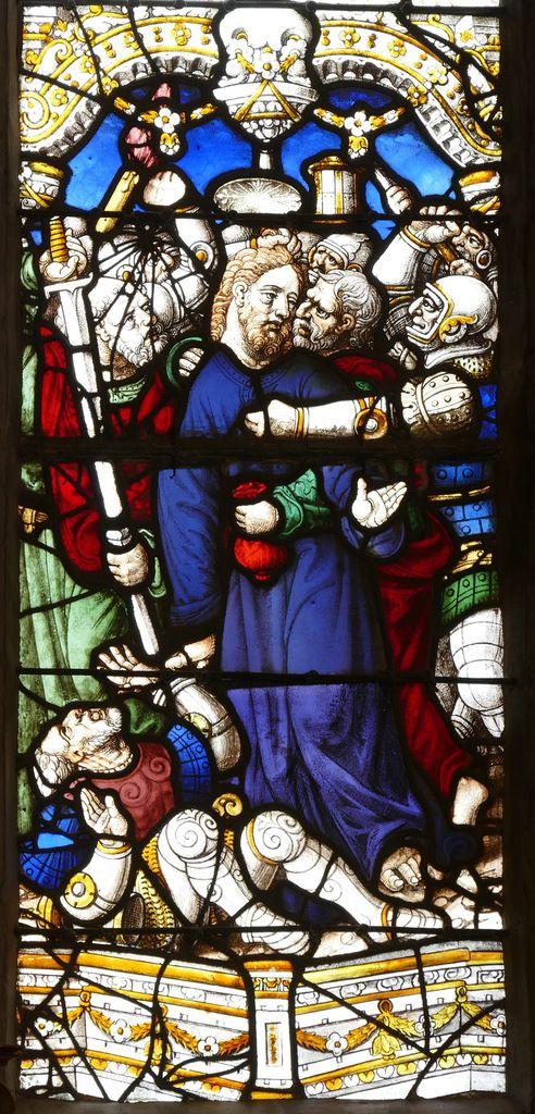 L'Arrestation de Jésus à Gethsémani, 1539, maîtresse-vitre de l'église Saint-Yves de La Roche-Maurice. Photographie lavieb-aile septembre 2017.