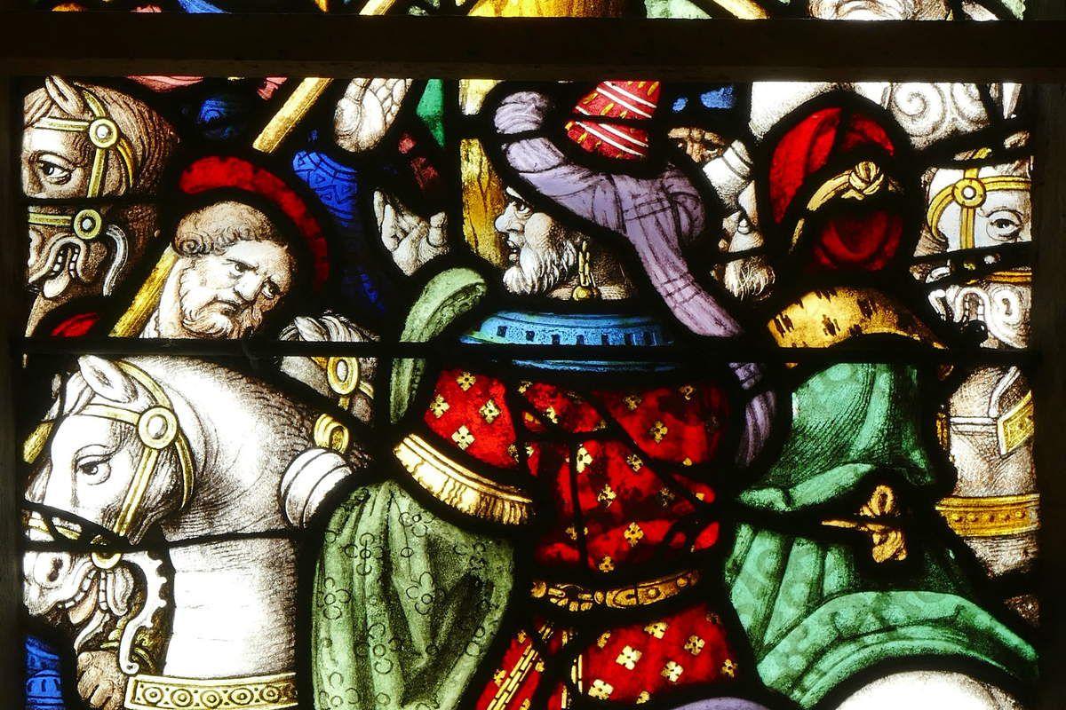 Lancette droite de la Crucifixion (1539), maîtresse-vitre de l'église Saint-Yves de La Roche-Maurice. Photographie lavieb-aile septembre 2017.