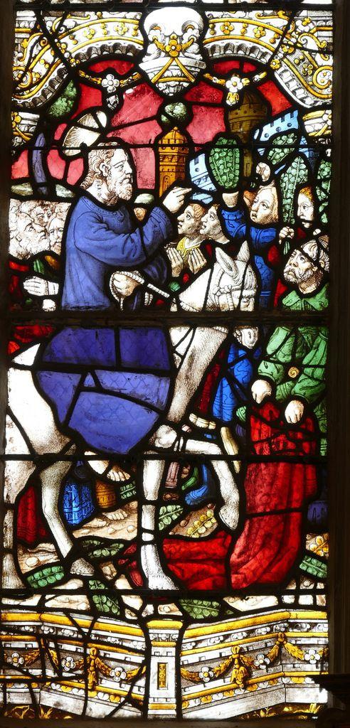 Entrée à Jérusalem,   maîtresse-vitre de l'église Saint-Yves de La Roche-Maurice. Photographie lavieb-aile septembre 2017.