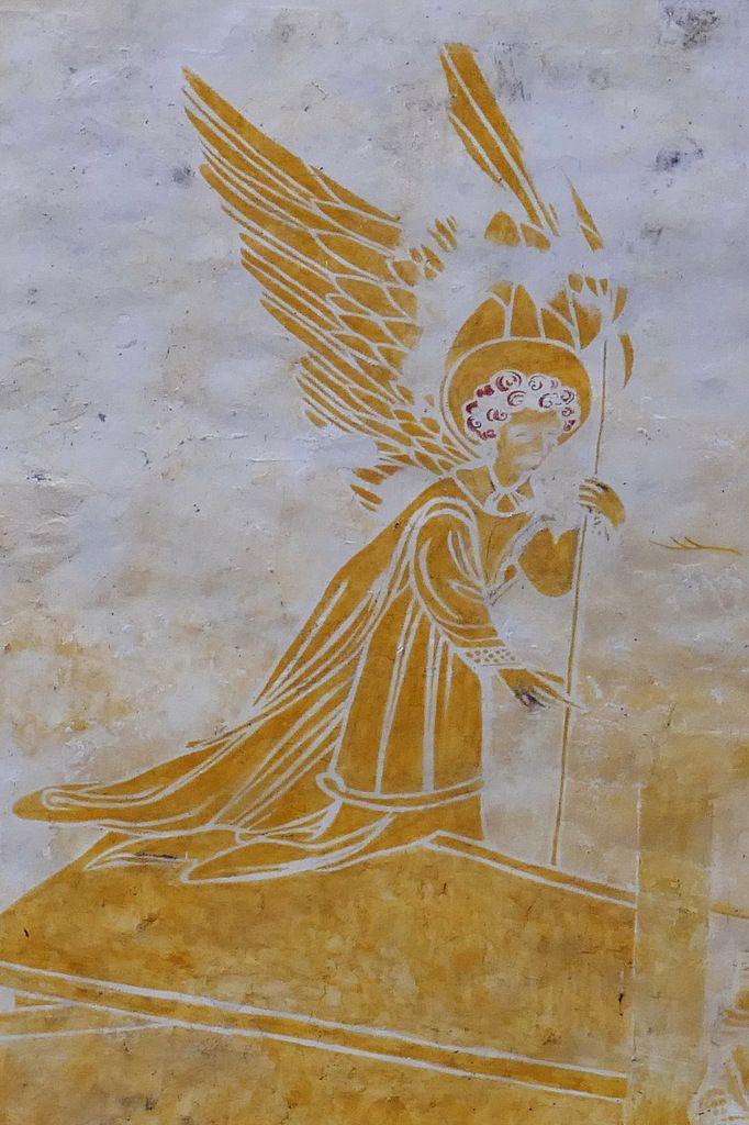 L'ange de la scène des Saintes Femmes face au Tombeau vide, coté sud de la nef, peintures murales de la chapelle Saint-Jacques à Saint-Léon, Merléac. Photographie lavieb-aile septembre 2017.