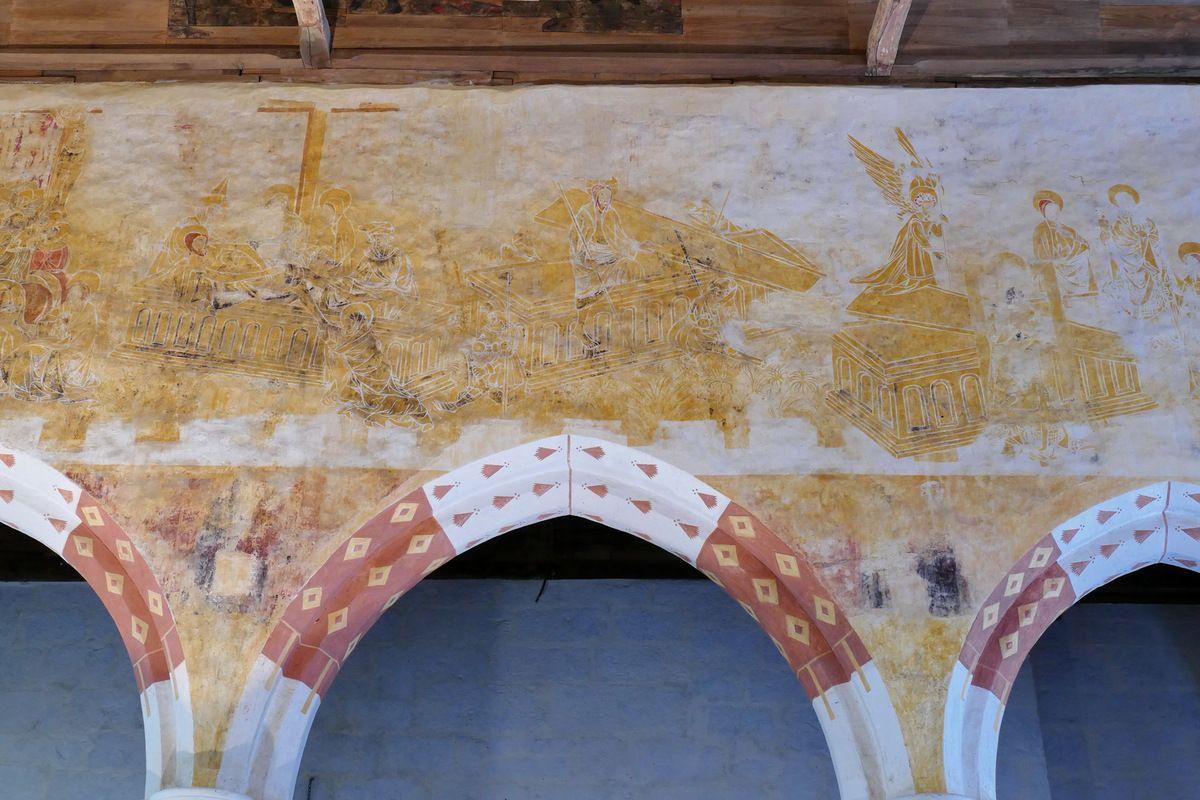 La Résurrection,   coté sud de la nef, peintures murales de la chapelle Saint-Jacques à Saint-Léon, Merléac. Photographie lavieb-aile septembre 2017.