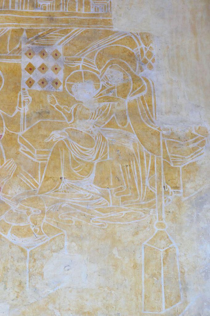 la Vierge à l'Enfant, peintures murales de la chapelle Saint-Jacques à Saint-Léon, Merléac. Photographie lavieb-aile septembre 2017.