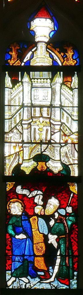 """Le Centenier s'exclamant """"Vraiment cet homme était le Fils de Dieu"""" , registre de la Passion, maîtresse-vitre (Guillaume Béart, 1402) de la chapelle Saint-Jacques de Merléac. Photographie lavieb-aile septembre 2017."""