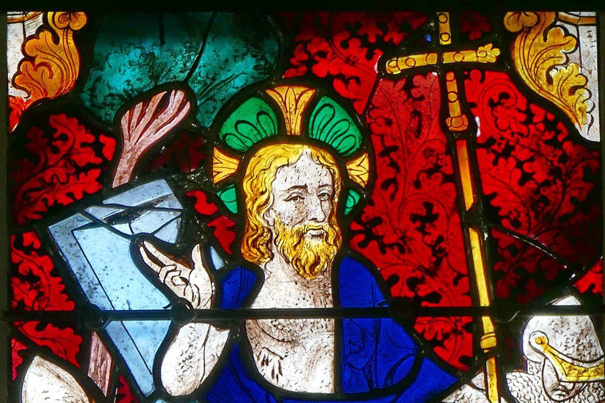 La Résurrection,  registre de la Passion, maîtresse-vitre (Guillaume Béart, 1402) de la chapelle Saint-Jacques de Merléac. Photographie lavieb-aile septembre 2017.