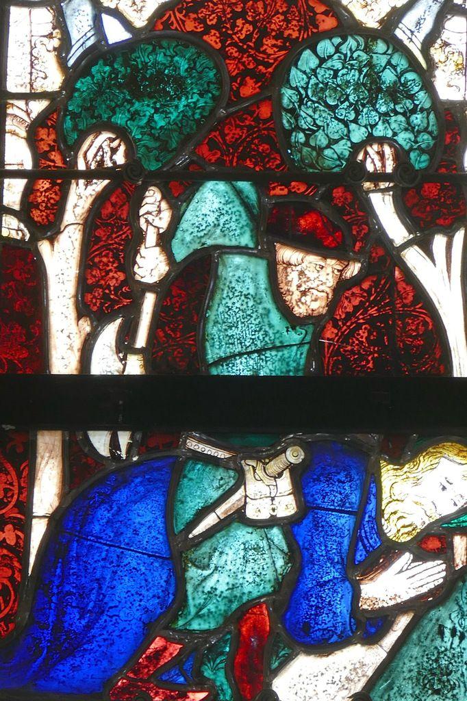 La Légende de saint Jacques, Maîtresse-vitre ou baie 0 (G. Béart, 1402) de la chapelle Saint-Jacques à Merléac. Photographie lavieb-aile septembre 2017.