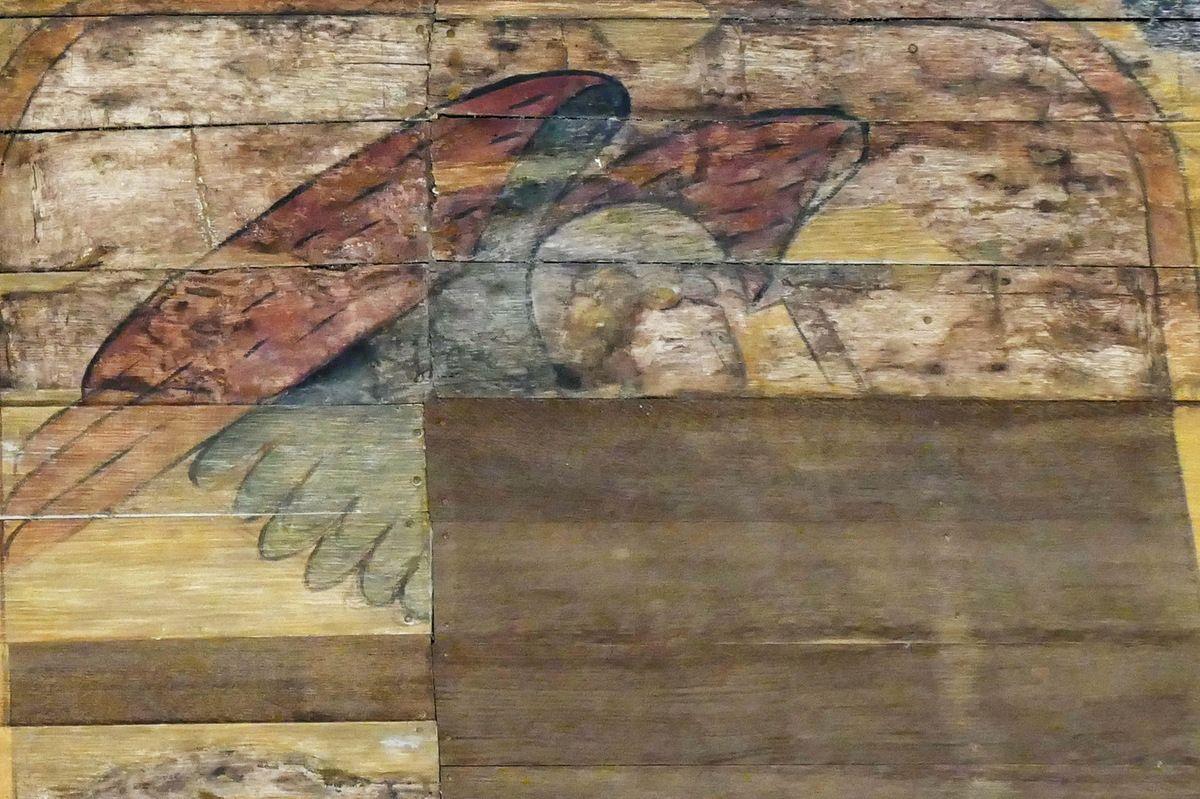 Voûte lambrissée du bas-coté nord, chapelle Saint-Jacques de Merléac. Photographie lavieb-aile octobre 2017.