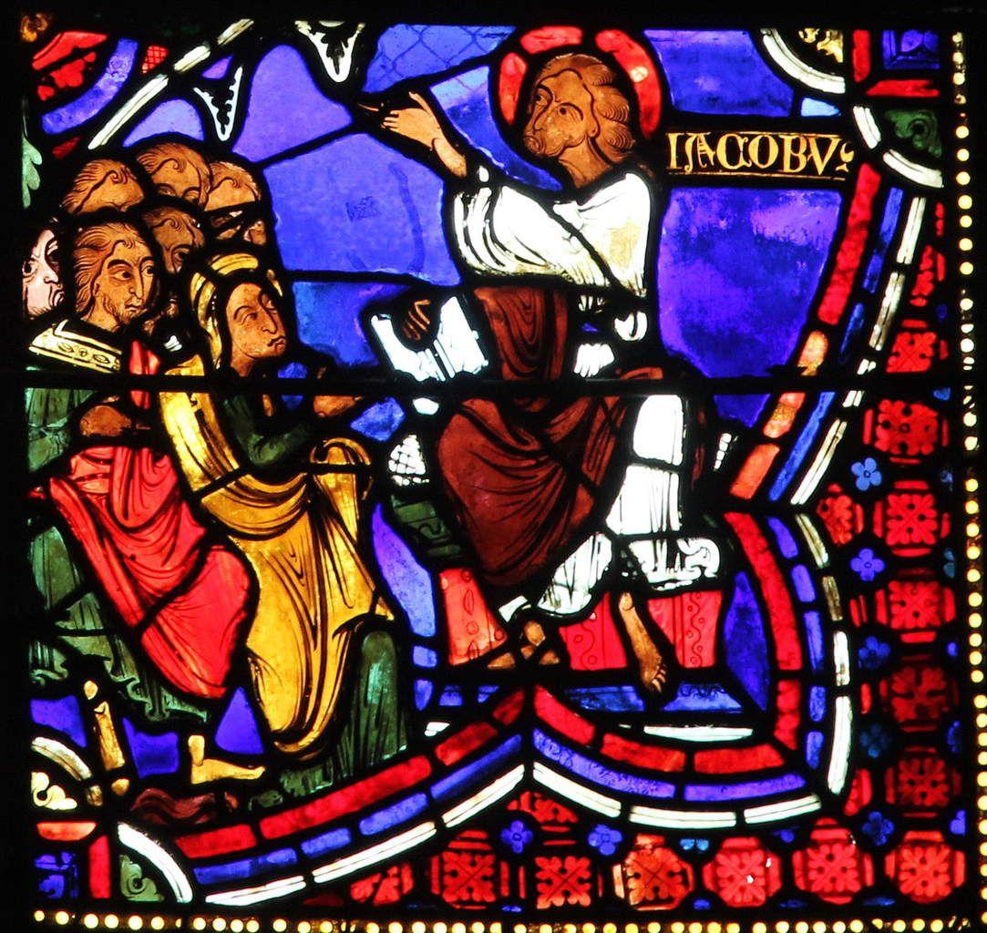 2. Prédication de saint Jacques aux Juifs (vers 1210-1215), verrière de la Vie de saint Jacques de la cathédrale de Bourges. Photographie lavieb-aile 2016.