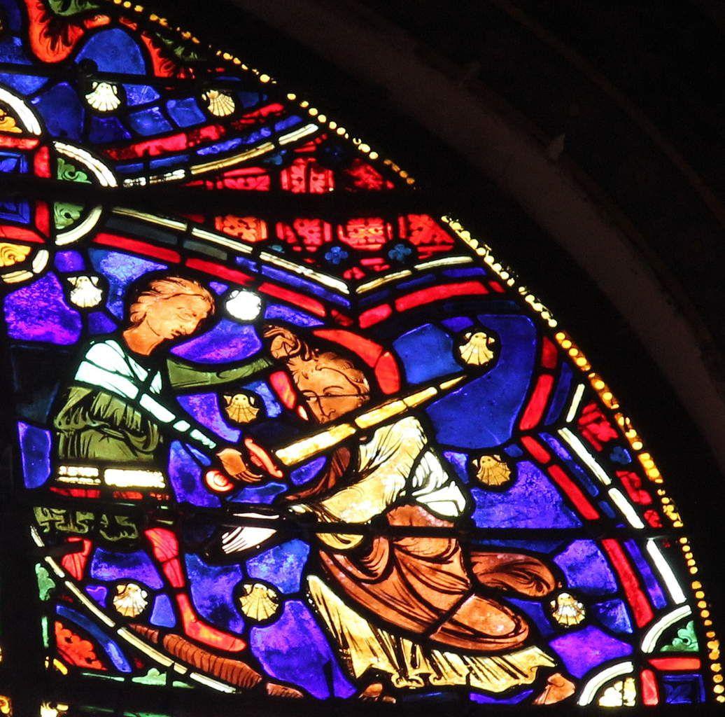 20. La Décollation de saint Jacques (vers 1210-1215), verrière de la Vie de saint Jacques de la cathédrale de Bourges. Photographie lavieb-aile 2016.