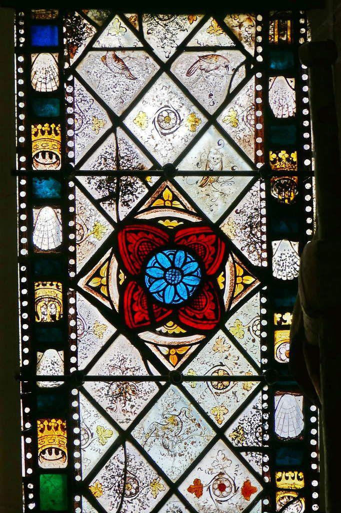Lancette D de la partie inférieure de la maîtresse-vitre de  la chapelle Saint-Jacques de Merléac. Photographie lavieb-aile septembre 2017.