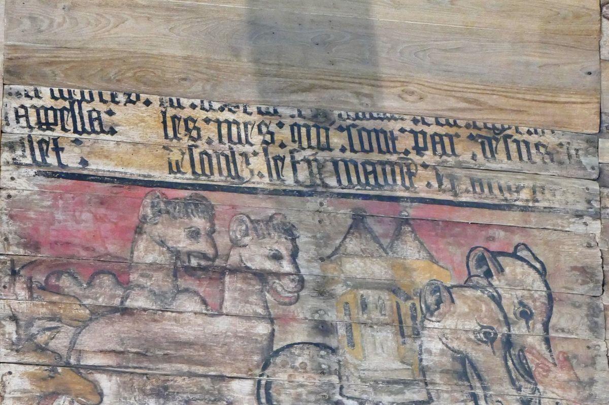 Inscription de la création des animaux terrestres, moitié nord du lambris de couvrement de la chapelle Saint-Jacques à Merléac. Photographie lavieb-aile octobre 2017.