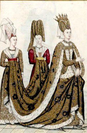 Isabeau de Bavières et ses dames d'honneur, relevé par Robert Gaignières, Gallica Wikipédia https://fr.wikipedia.org/wiki/Isabeau_de_Bavi%C3%A8re#/media/File:Izabel_Bavor.jpg