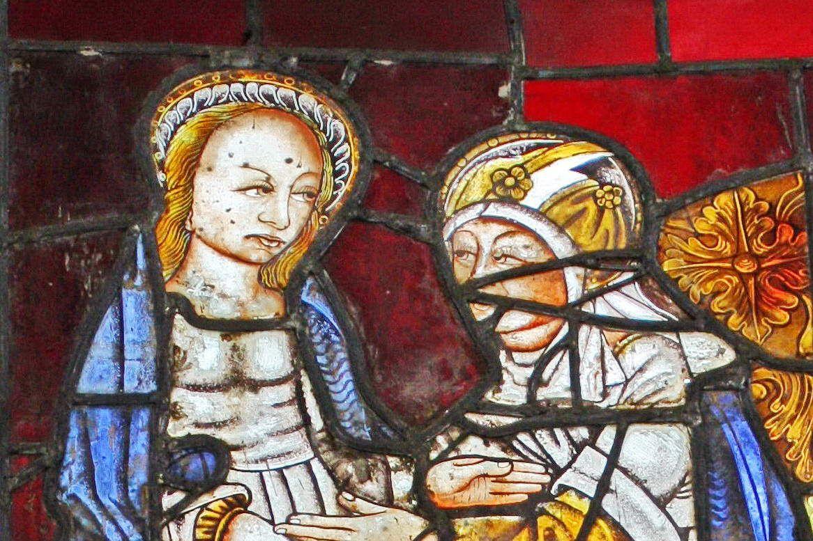 Visitation, verrière de la Vie de la Vierge (1480-1490), baie 0, chapelle Notre-Dame de Kerfons. Photographie lavieb-aile 2012.
