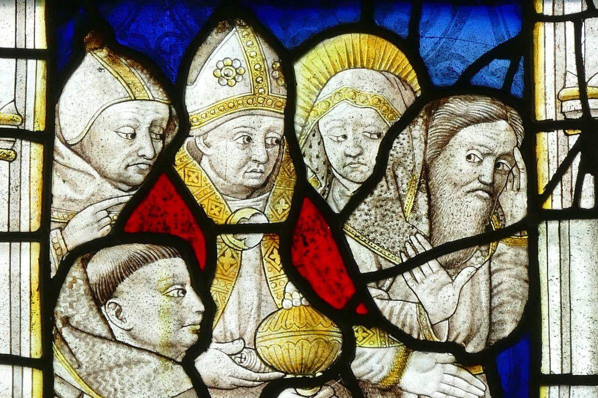L'offrande de Joachim au temple, maîtresse-vitre (1460-1470) de la chapelle Notre-Dame-de-la-Cour à Lantic. Photographie lavieb-aile septembre 2017.