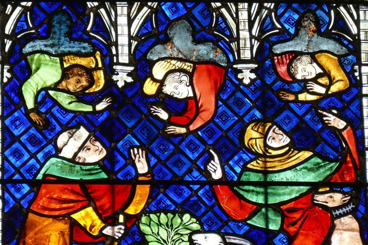 Annonce aux bergers, verrière de la Vie de la Vierge ou baie 26, vers 1328, bas-coté sud de la cathédrale de Strasbourg. Photographie lavieb-aile 2016.