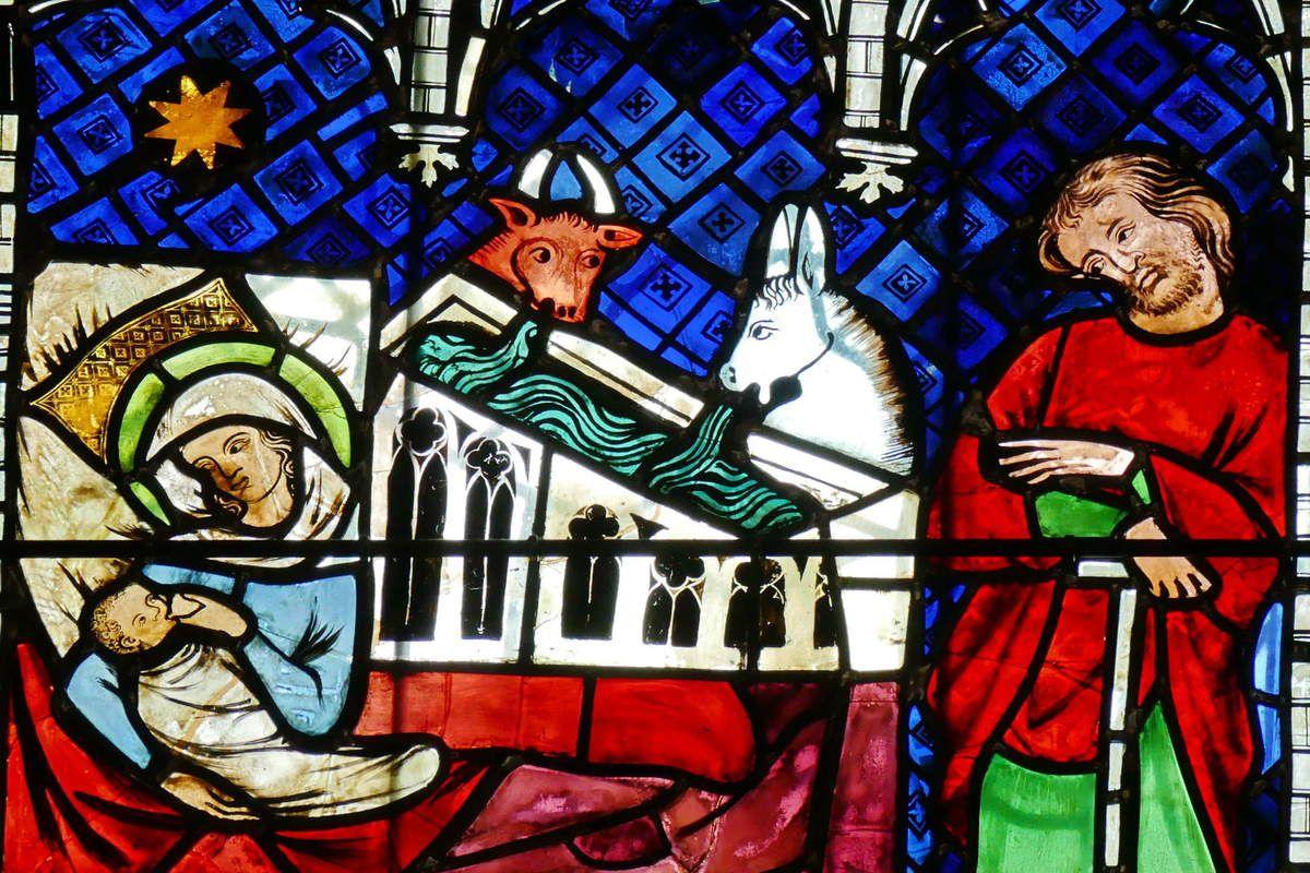 Verrière de la Vie de la Vierge ou baie 26, vers 1328, bas-coté sud de la cathédrale de Strasbourg. Photographie lavieb-aile 2016.