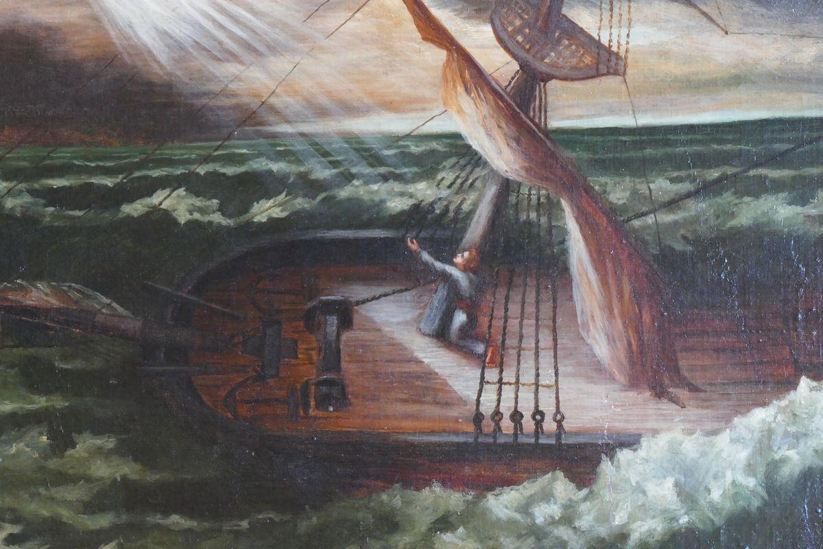 Naufrage du brick La Perle le 27 mai 1836 (huile sur bois), chapelle Notre-Dame-de-la-Cour à Lantic. Photographie lavieb-aile septembre 2017.