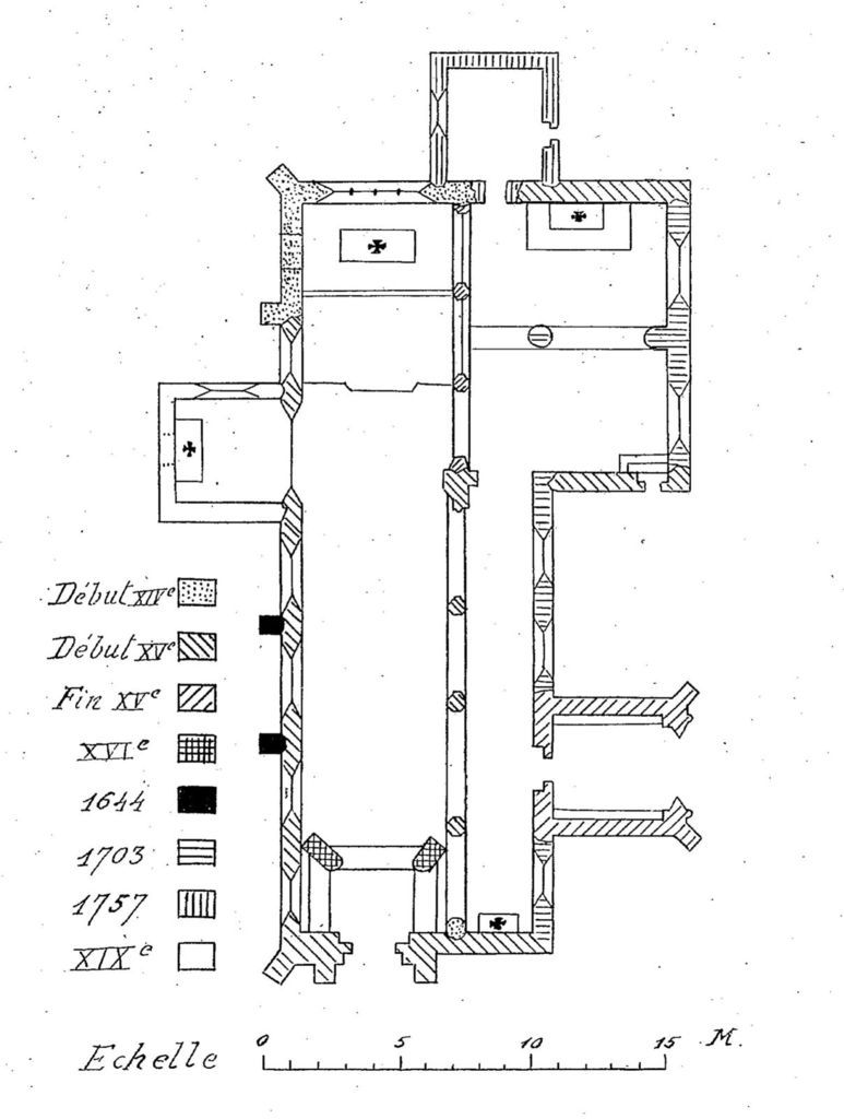 Couffon, 1936, plan et datation de la chapelle. Source BnF Gallica.