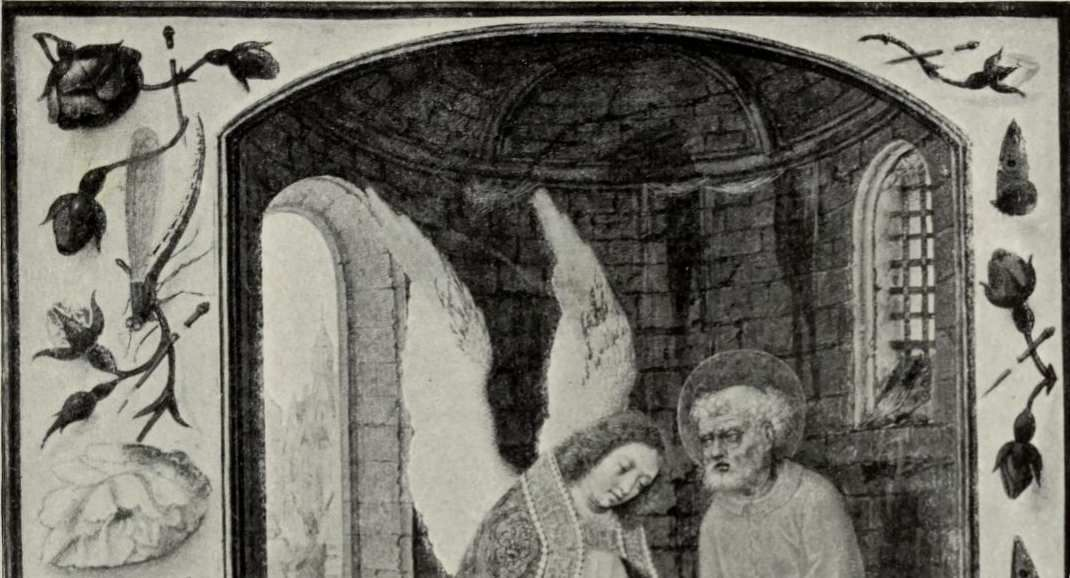 Venise, Biblioteca Nazionale Marciana, Ms lat. I 99.Bréviaire du cardinal Domenico Grimani, Flandres, vers 1510-1520. folio646b :Saint Pierre délivré de prison par un ange.