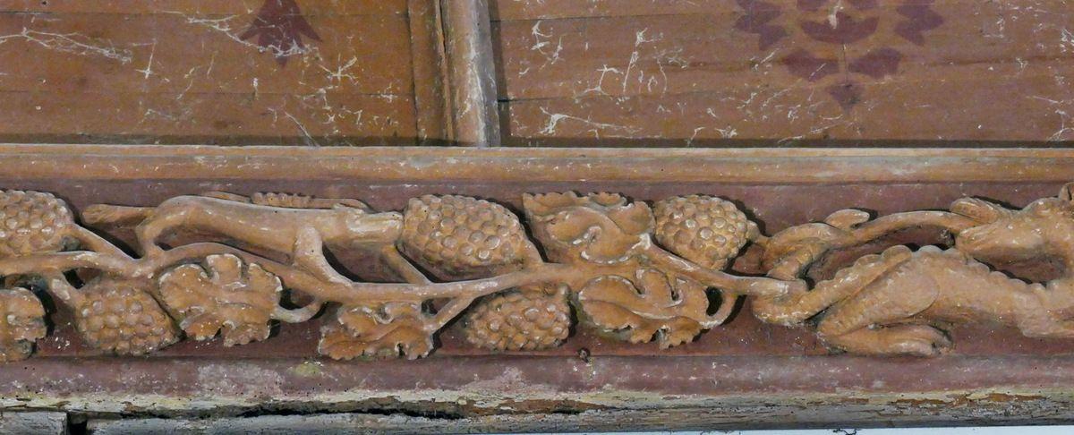Les sablières (1506-1508) de la nef centrale de l'église Notre-Dame de Grâces. Photographie lavieb-aile septembre 2017.