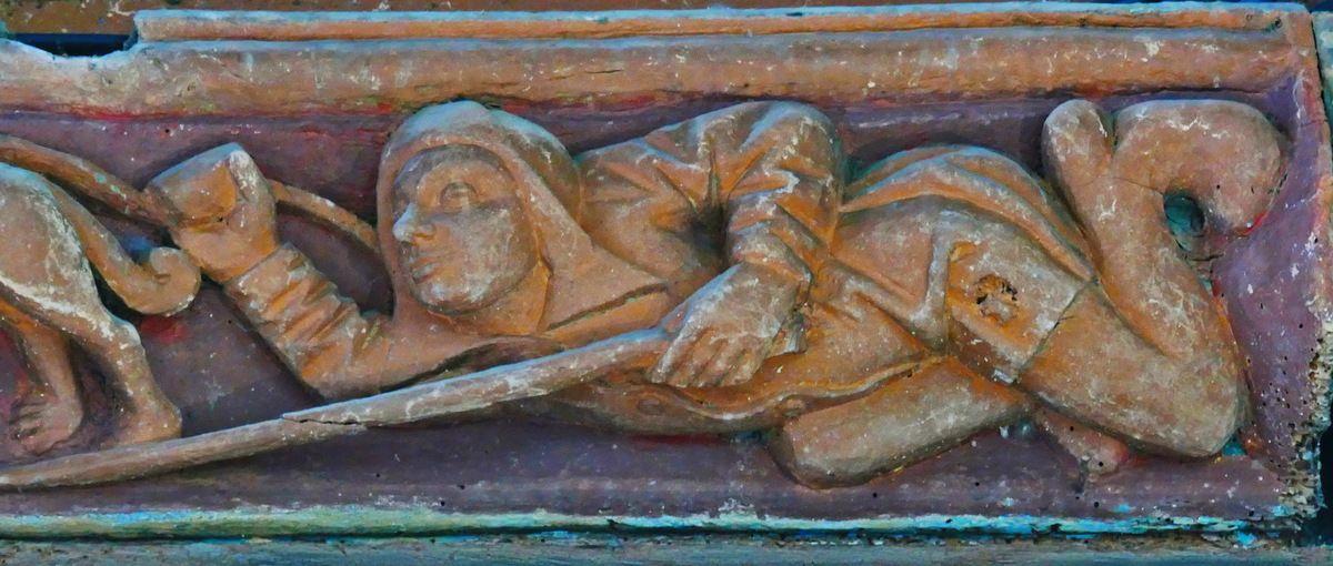 Les sablières de la nef centrale de l'église Notre-Dame de Grâces (22).
