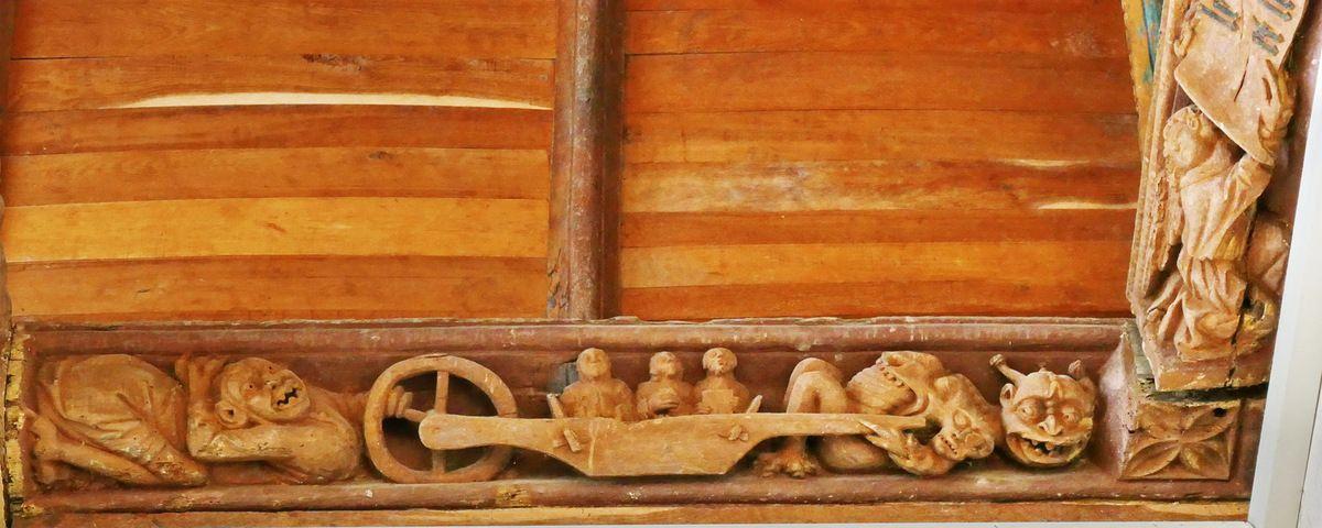 Sablières (1508) du bas-coté sud de l'église  Notre-Dame-de-Grâces à Grâces-Guingamp. Photographie lavieb-aile septembre 2017.